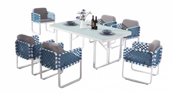 Dresdon Dining Set For 6 with Side Straps