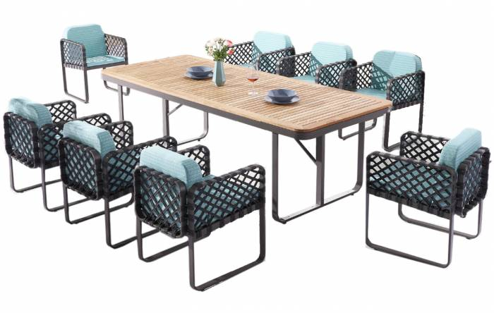 Dresdon Dining Set For 8 with Woven Sides