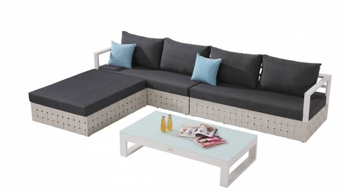 Edge Sectional Sofa Set for 4 with chaise ottoman and Coffee Table - Image 1