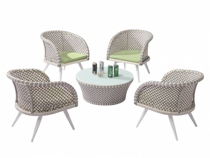 Evian Set of 4 Chairs with Woven Sides with Coffee table