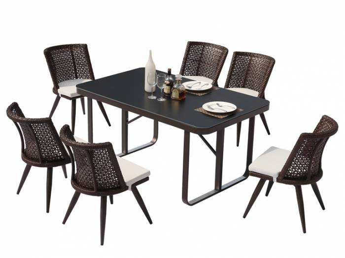Evian Small Armless Dining Set for 6