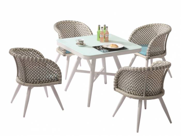 Evian Square Dining Set for 4 with Woven Sides