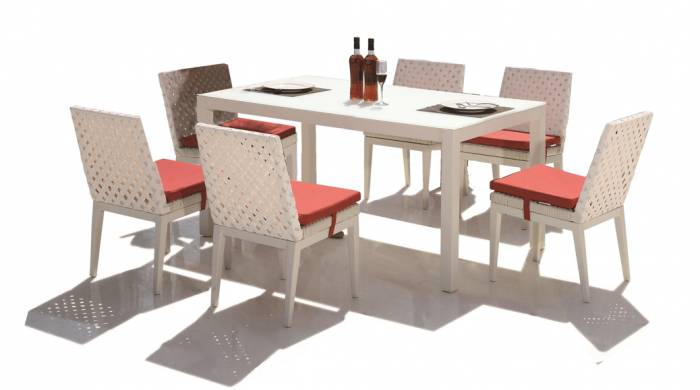Florence Dining Set for 6 with Armless Chairs