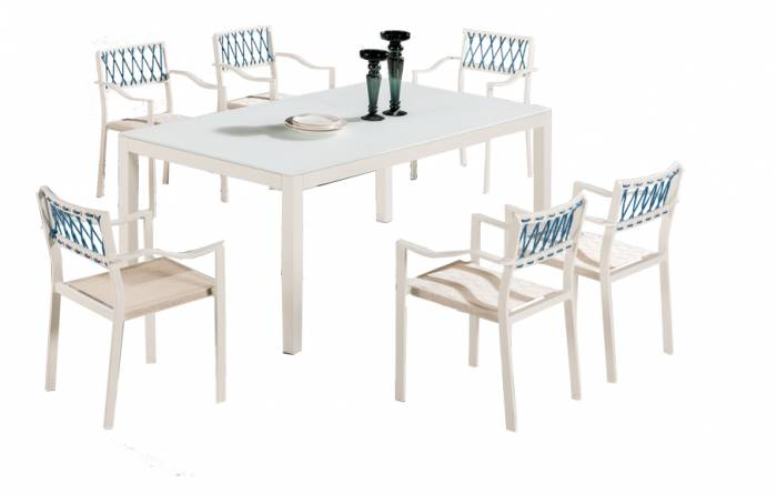 Hyacinth Dining Set for 6 with Chairs with Arms - Image 1