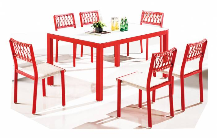 Hyacinth Dining Set for 6 with Chairs without Arms - Image 1