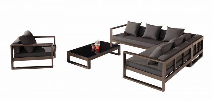 Amber Outdoor Sectional Set with Club Chair - QUICK SHIP - Image 1