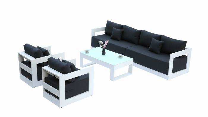 Babmar - Lusso Long Sofa With Club Chairs - Image 1