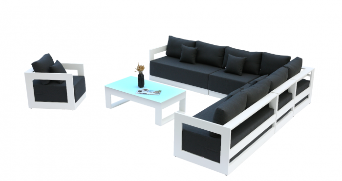 Babmar - Lusso XL Sectional Sofa Set With Club Chair - Image 1