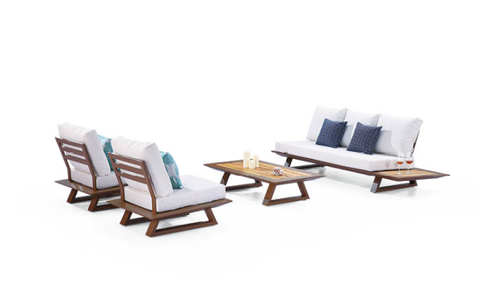 Luxe Loveseat Set With Built-In Side Tables And Two Club Chairs - Image 1