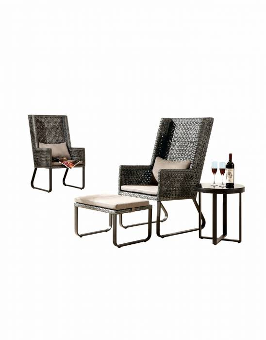 Polo High Back Chair with Ottoman and Side Table
