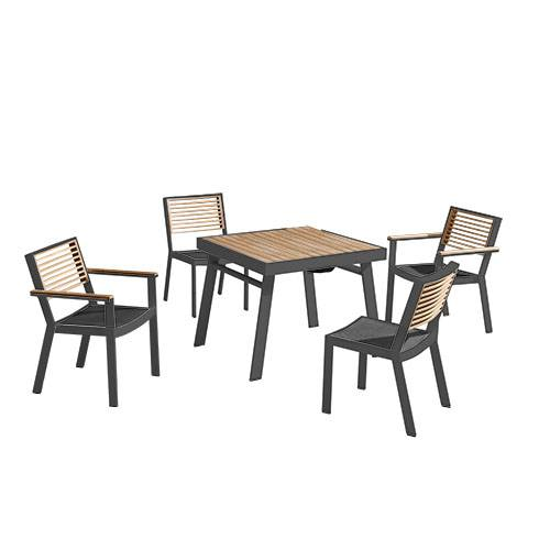 Babmar - Avant Dining Set For 4 (Stackable Chairs/Table With Teak Top/ Umbrella Hole) - Image 1