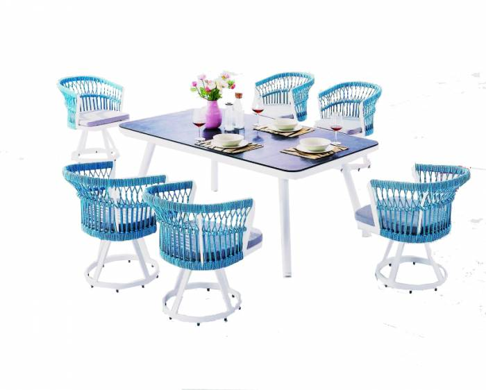 Seattle Dining Set For Six With Rounded Back - Image 1