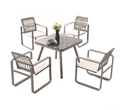 Seattle Chair With Rounded Arms Dining Set For Four - Image 1