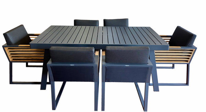Babmar - Avant Dining Set For 6 with Aluminum Table - Image 1
