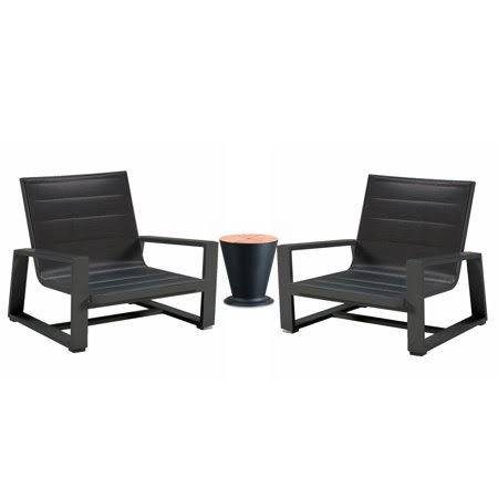 Kyoto Chair Set with Round Side Table with Ice Bucket- QUICK SHIP - Image 1