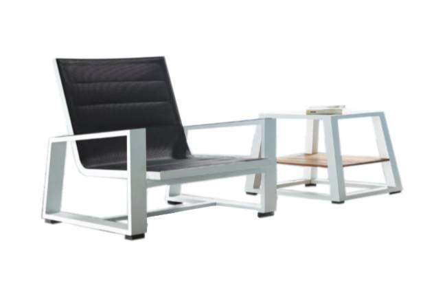 Mykonos Mesh Chair And Side Table - QUICK SHIP - Image 1