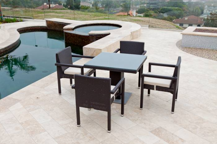 Vita Arm Chair Dining Set For Four with Bistro Table