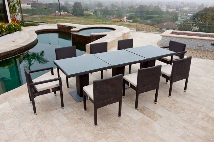 Vita Dining Set For Eight with Three Bistro Tables