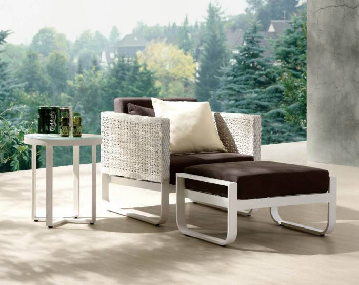 Polo Club Chair with Ottoman and Side Table