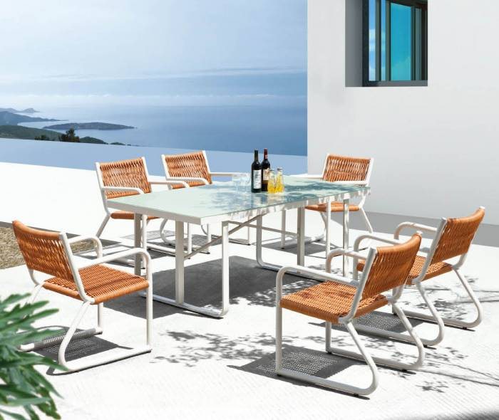 Florence Dining Set for 6 with glass top