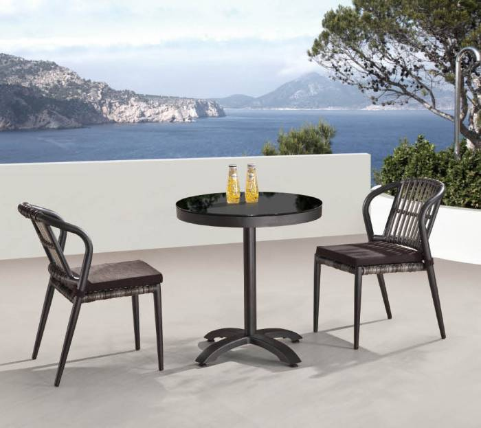 Valencia Armless Dining Set for Two with Small Bistro Table