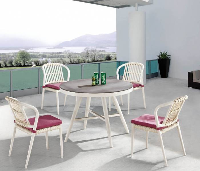 Kitaibela Armless Dining Set for Four with Round Table