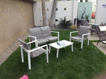 Outdoor Furniture Sets - Amber Sofa And Sectional Seating - Bianco Love Seat Set With Cushions