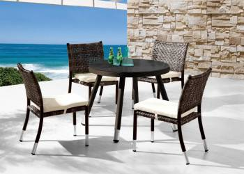 Outdoor Furniture Sets - Outdoor  Dining Sets - Fatsia Dining Set for 4 with Round Table and Armless Chairs