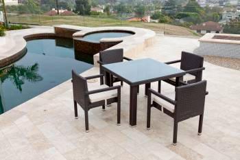 Shop by Category  - Outdoor Dining Sets - Vita Chairs With Arms Dining Set For Four