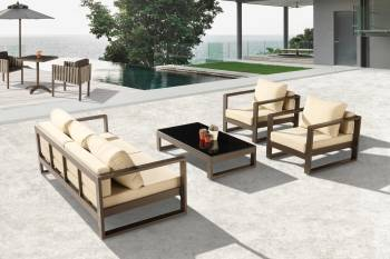 Outdoor Furniture Sets - Amber Sofa And Sectional Seating - Amber Sofa Set for 5 with 2 Club Chairs