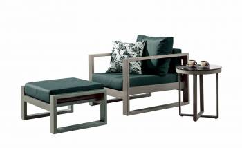 Outdoor Furniture Sets - Outdoor Sofa & Seating Sets - Amber Club Chair with Ottoman with Side Table
