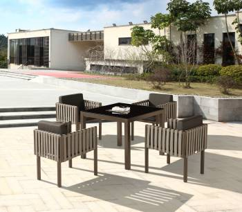 Outdoor Furniture Sets - Outdoor  Dining Sets - Amber Dining Set For 4 with Side Straps