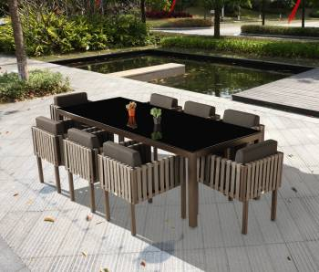 Outdoor Furniture Sets - Outdoor  Dining Sets - Amber Dining Set For 8 with Side Straps