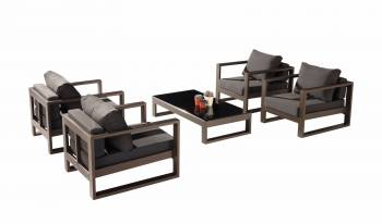 Outdoor Furniture Sets - Amber Sofa And Sectional Seating - Amber Club Chair Set for 4