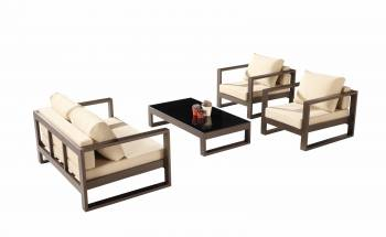 Outdoor Furniture Sets - Outdoor Sofa & Seating Sets - Amber Loveseat Sofa Set for 4