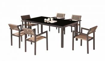 Outdoor Furniture Sets - Outdoor  Dining Sets - Amber Dining Set For 6 all With Arms