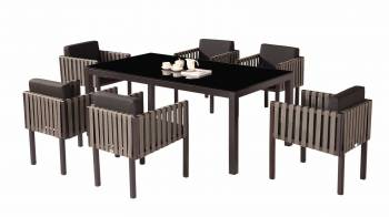 Outdoor Furniture Sets - Outdoor  Dining Sets - Amber Dining Set For 6 with Side Straps