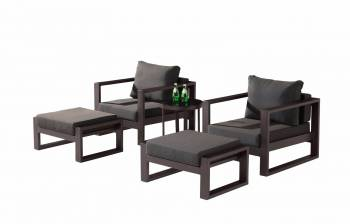 Outdoor Furniture Sets - Outdoor Sofa & Seating Sets - Amber Club Chair Set for 2 with Ottomans and Side Table