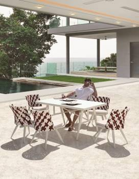 Outdoor Furniture Sets - Outdoor  Dining Sets - Verona Dining Set for 6 with Armless Chairs