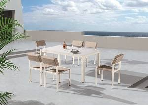 Outdoor Furniture Sets - Outdoor  Dining Sets - Barite Dining Set for 6 with Armless Chairs