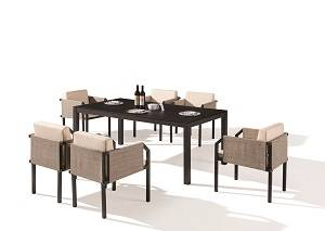 Outdoor Furniture Sets - Outdoor  Dining Sets - Barite Dining Set for 6 with All Chair with Arms