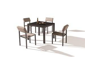 Outdoor Furniture Sets - Outdoor  Dining Sets - Barite Dining Set for 4 with Armless Chairs