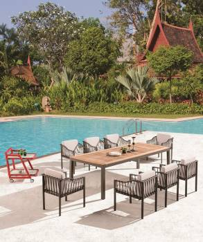 Outdoor Furniture Sets - Outdoor  Dining Sets - Hyacinth Dining Set for 8 with Sidestraps