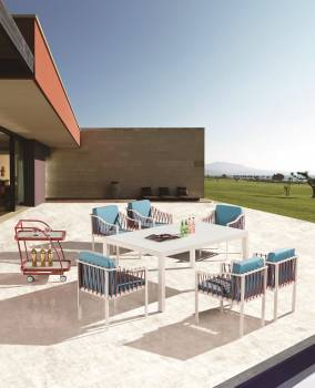 Outdoor Furniture Sets - Outdoor  Dining Sets - Hyacinth Dining Set for 6 with Sidestraps