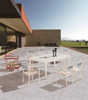 Outdoor Furniture Sets - Outdoor  Dining Sets - Hyacinth Dining Set for 6 with Chairs with Arms