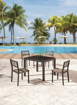 Outdoor Furniture Sets - Outdoor  Dining Sets - Hyacinth Dining Set for 4 with Chairs without Arms