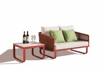 Shop By Category - Outdoor Seating Sets - Apricot Loveseat Set with Side Table