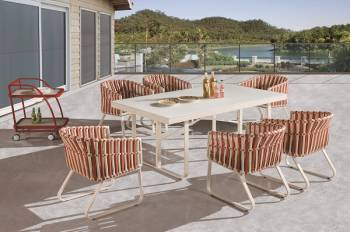 Outdoor Furniture Sets - Outdoor  Dining Sets - Apricot Dining Set for 6
