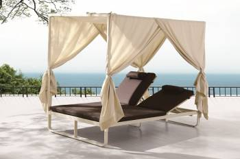 Outdoor Furniture Sets - Outdoor Chaise Lounges - Polo Double Beach Bed with Canopy