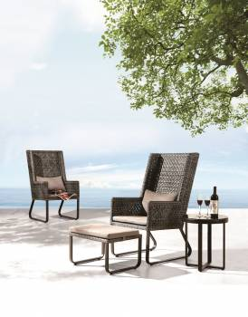 Shop By Collection - Polo Collection - Polo High Back Chair with Ottoman and Side Table